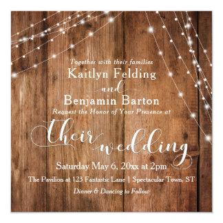 Rustic Brown Wood, White Light Strings Wedding 2c Card