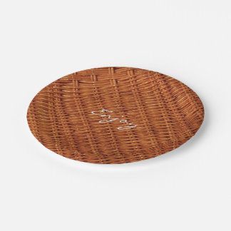Rustic Brown Wood Wicker Picnic Basket Funny 7 Inch Paper Plate