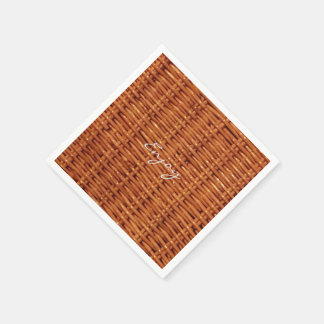 Rustic Brown Wood Wicker Picnic Basket Funny Disposable Serviettes