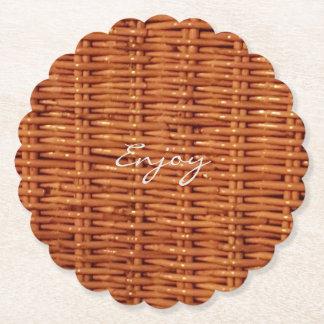 Rustic Brown Wood Wicker Picnic Basket Funny Paper Coaster