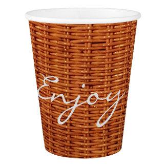 Rustic Brown Wood Wicker Picnic Basket Funny Paper Cup