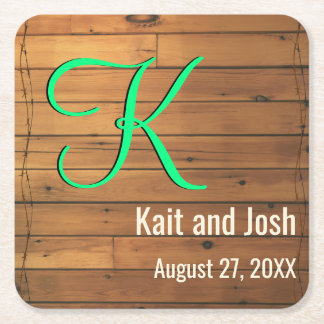 Rustic Brown Wooden Barn Wall Farm Monogram Square Paper Coaster