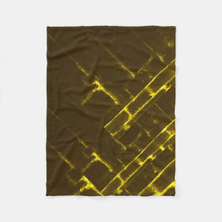 Rustic Brown Yellow Geometric Batik Weave Modern Fleece Blanket