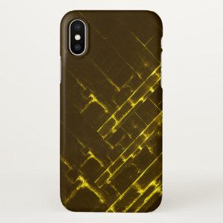 Rustic Brown Yellow Geometric Batik Weave Modern iPhone X Case