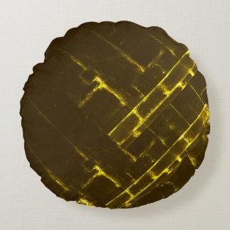 Rustic Brown Yellow Geometric Batik Weave Modern Round Cushion