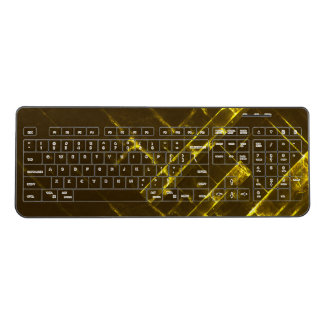 Rustic Brown Yellow Geometric Batik Weave Modern Wireless Keyboard