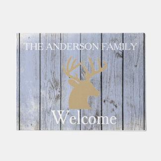 Rustic Buck Antlers Wood Personalized Door Mat