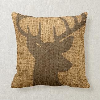 Rustic Buck Silhouette Cushion