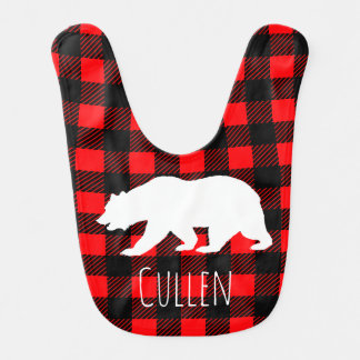 Rustic Buffalo Check Plaid Bear & Baby's Name Bib