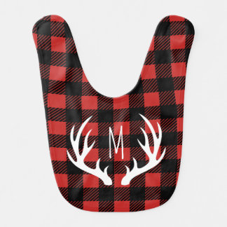 Rustic Buffalo Check Plaid White Deer Antlers Bib