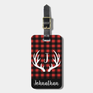 Rustic Buffalo Check Plaid & White Deer Antlers Luggage Tag