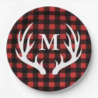 Rustic Buffalo Check Plaid & White Deer Antlers Paper Plate