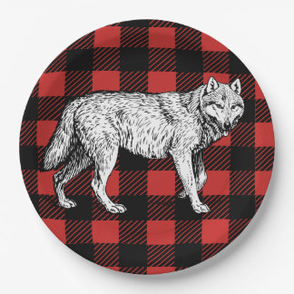 Rustic Buffalo Check Plaid & Wolf Paper Plate