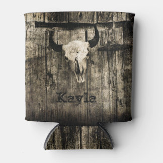 Rustic buffalo skull with horns against barn can cooler
