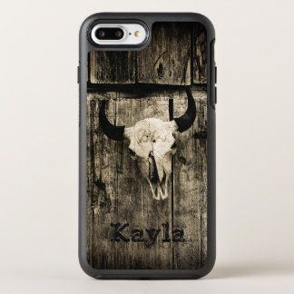 Rustic buffalo skull with horns against barn OtterBox symmetry iPhone 8 plus/7 plus case