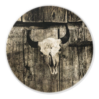 Rustic buffalo skull with horns on a barn ceramic knob