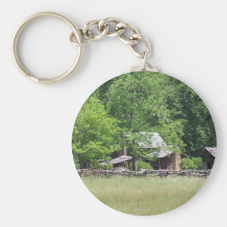 Rustic Buildings Basic Round Button Key Ring