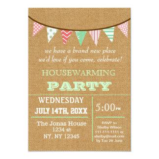 Rustic Buralp Bunting Housewarming party Invites