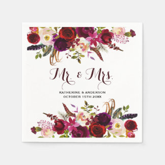 Rustic Burgundy Chic Floral Mr and Mrs Wedding Paper Napkins