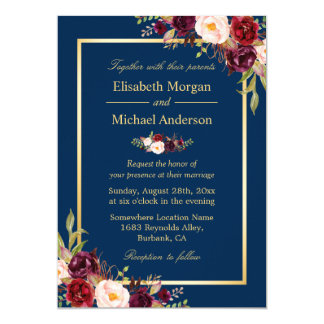 Navy And Gold Wedding Invitations Announcements Zazzlecomau