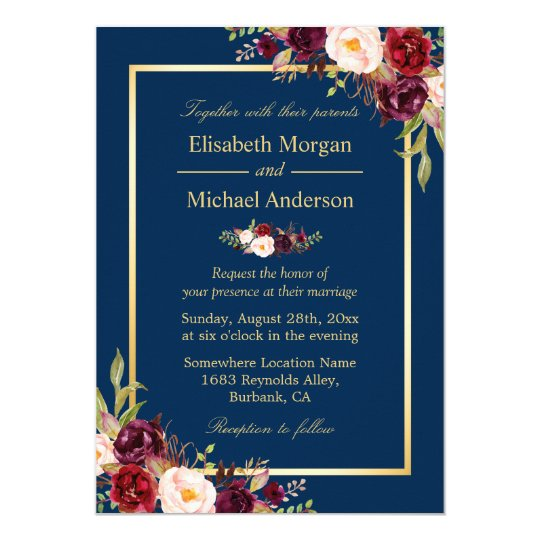 Navy Blue And Gold Wedding Invitations: Rustic Burgundy Floral Gold Navy Blue Wedding Invitation