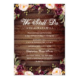 Rustic Burgundy Floral Vow Renewal Anniversary Card