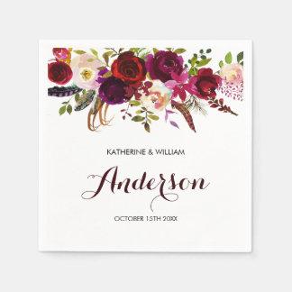 Rustic Burgundy Marsala Chic Floral Wedding Disposable Napkin