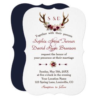 Rustic Burgundy Marsala Floral Antlers Wedding Card