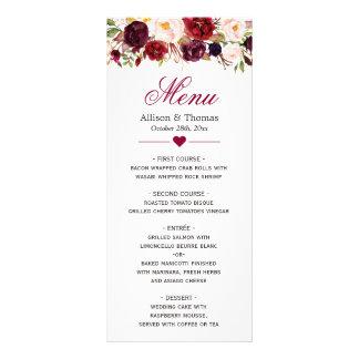 Rustic Burgundy Marsala Red Floral Wedding Menu Customized Rack Card