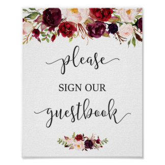 Rustic Burgundy Red Floral Guestbook Wedding Sign Poster