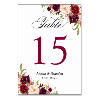 Rustic Burgundy Red Floral Wedding Table Number Table Cards