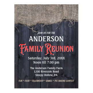 Rustic Burlap and Barn Wood Family Reunion Postcard