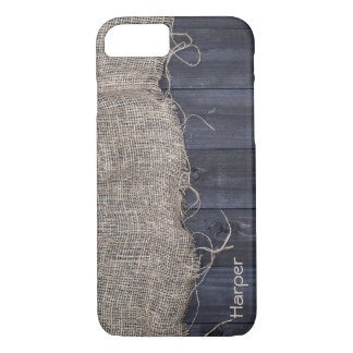 Rustic Burlap and Barn Wood with Custom Name iPhone 8/7 Case