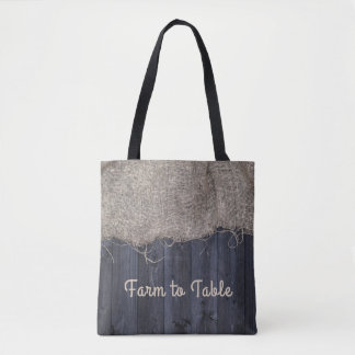 Rustic Burlap and Barn Wood with Text Tote Bag