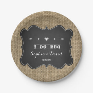 Rustic Burlap and Chalkboard I DO BBQ Custom Paper Plate