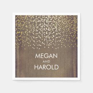Rustic Burlap and Gold Confetti Wedding Disposable Serviette