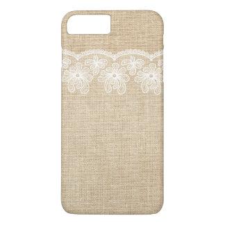 Rustic Burlap and Lace Bride iPhone 7 Plus Case
