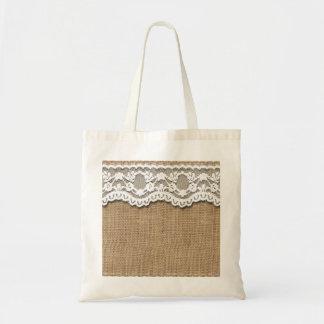 Rustic Burlap and Lace Budget Tote Bag