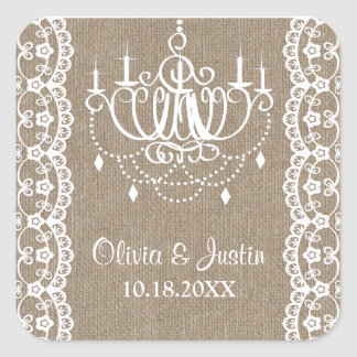 Rustic Burlap and Lace Chandelier Wedding Square Sticker