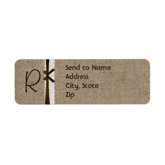 Rustic Burlap and Lace Monogram Address Label