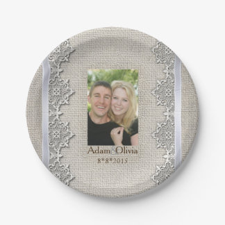 Rustic Burlap And Lace Photo Wedding Paper Plate
