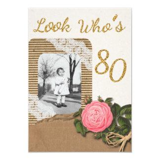 Rustic Burlap and Lace Rose 80th Birthday Invite