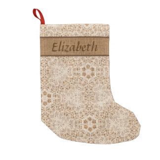 Rustic Burlap and Lace Snowflake Personalized Small Christmas Stocking