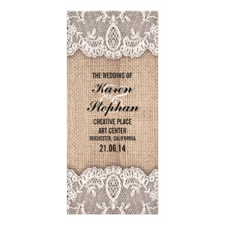 Rustic burlap and lace wedding programs full color rack card