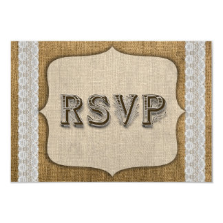 Rustic Burlap And Lace Wedding Response Card