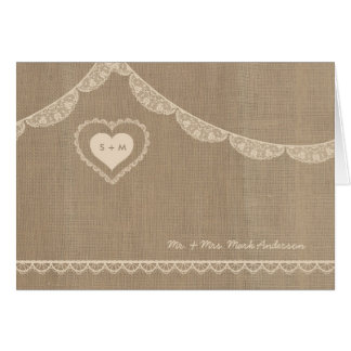 Rustic Burlap and Lace Wedding thank you notes Greeting Card