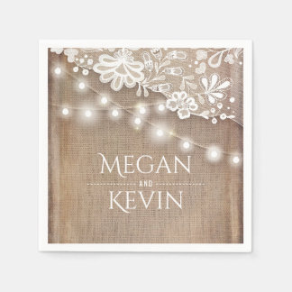 Rustic Burlap and String Lights Lace Wedding Disposable Serviette