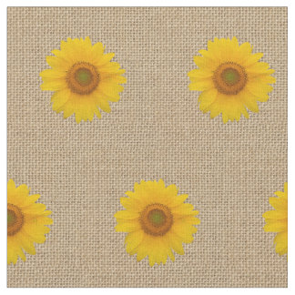Rustic Burlap and Sunflower Printed Pattern Fabric