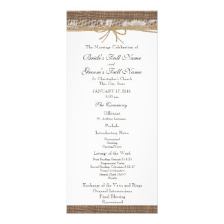 Rustic Burlap and Twine Wedding Program Full Colour Rack Card