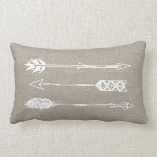 Rustic Burlap Arrows Lumbar Cushion